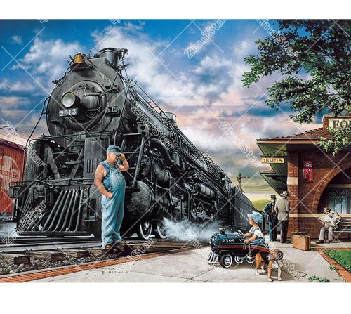 Train Town 5D DIY Paint By Diamond Kit