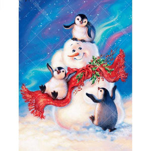 Snowman with Penguins 5D DIY Paint By Diamond Kit