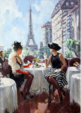 Ladies At The Eiffel Tower 5D DIY Paint By Diamond Kit