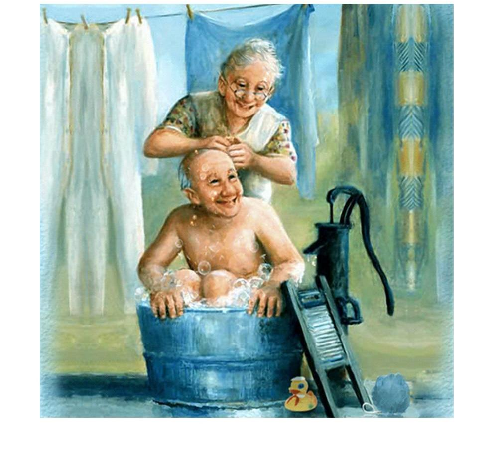 Old Couple 5D DIY Paint By Diamond Kit