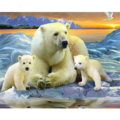 Polar Bear Family 5D DIY Paint By Diamond Kit