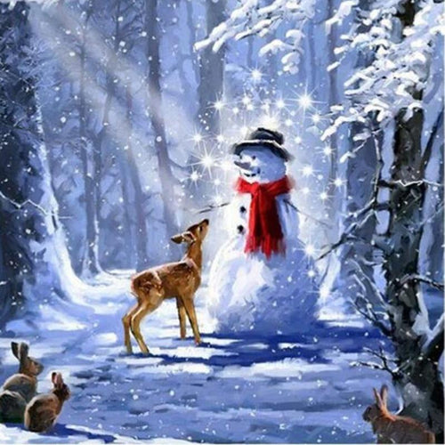 Snowman & Deer 5D DIY Paint By Diamond Kit