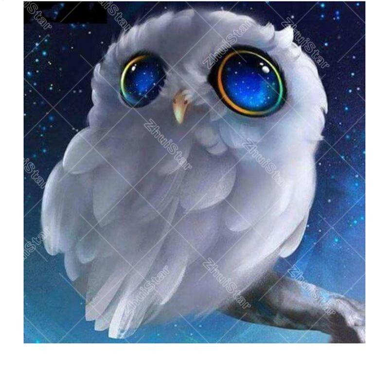White Owl 5D DIY Paint By Diamond Kit