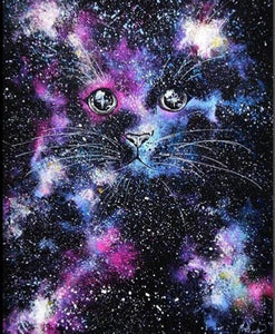 Cat in a Starry Night 5D DIY Paint By Diamond Kit
