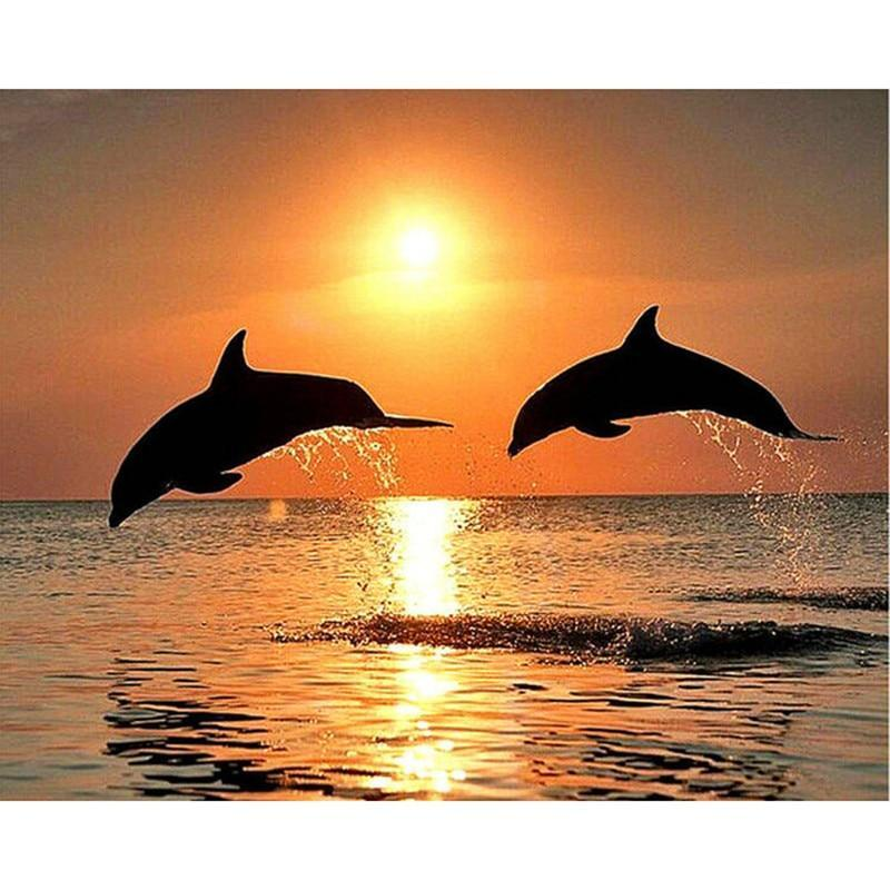 Two Dolphins 5D DIY Paint By Diamond Kit