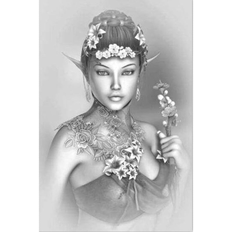 Black & White Painting Of Woman 5D DIY Paint By Diamond Kit