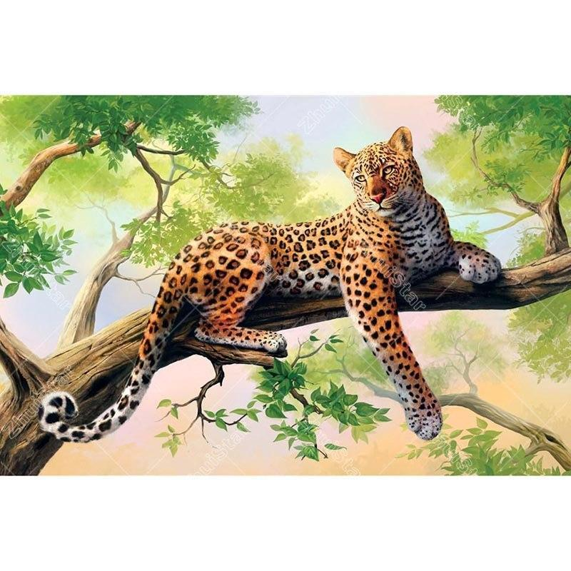 Leopard on the Tree 5D DIY Paint By Diamond Kit