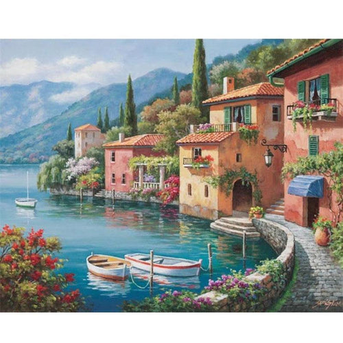 Seaside Town Scenic Embroidery 5D DIY Paint By Diamond Kit