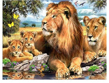 Lion With His Family 5D DIY Paint By Diamond Kit