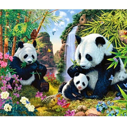 Panda Family 5D DIY Paint By Diamond Kit