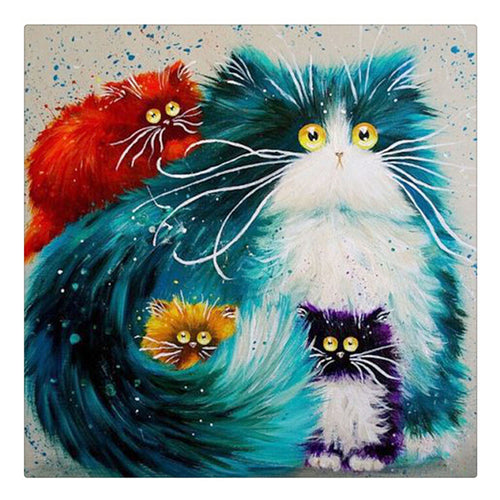 Colorful Cats 5D DIY Paint By Diamond Kit