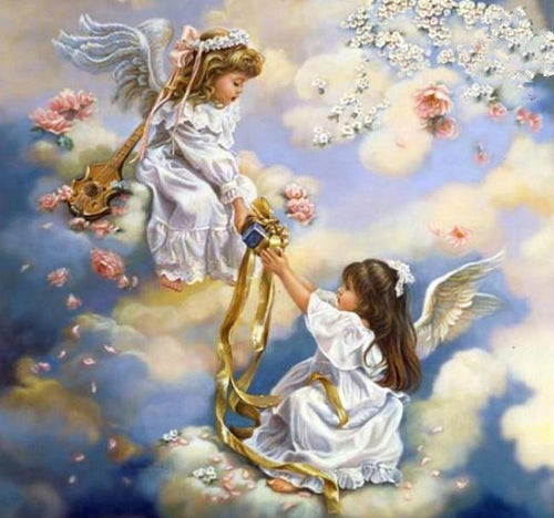 Two Angels 5D DIY Paint By Diamond Kit