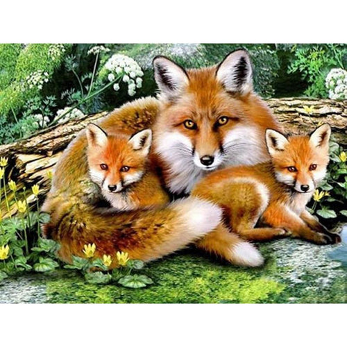 Fox Family 5D DIY Paint By Diamond Kit