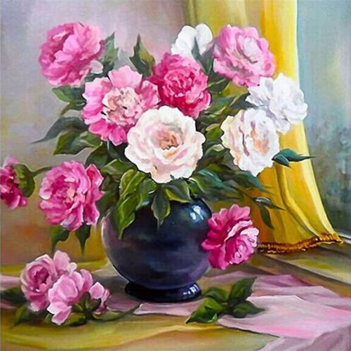 Floral Vase 5D DIY Paint By Diamond Kit