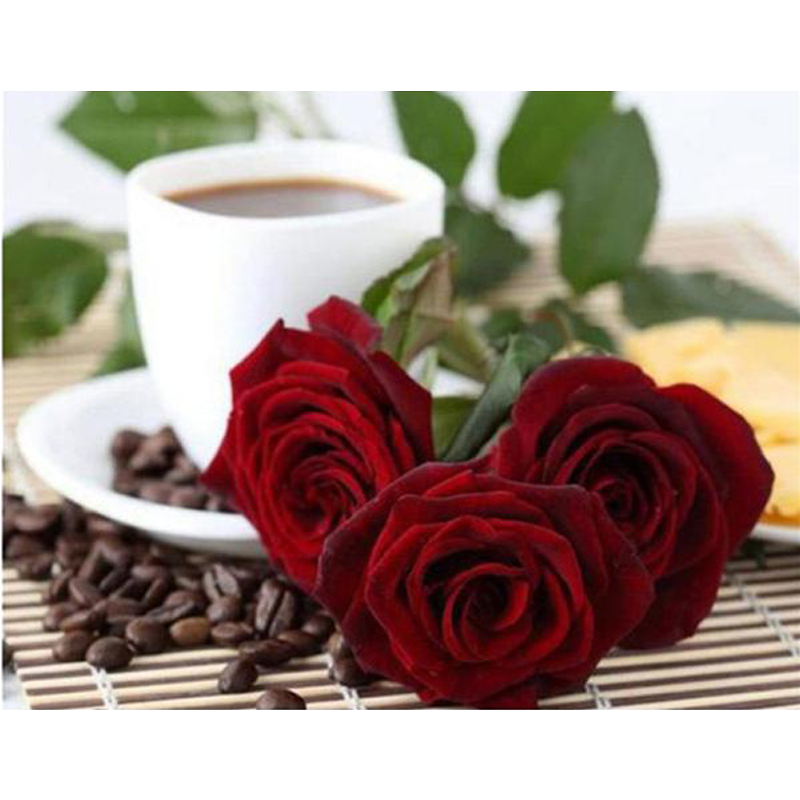 Red Rose And Coffee 5D DIY Paint By Diamond Kit