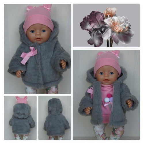 Fur coat, jacke for Baby Born, Baby Born Sister, Baby Annabell or other doll till 43 cm