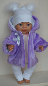 Fur coat, jacket for Baby Born, Baby Born Sister, Baby Annabell or other doll till 43 cm