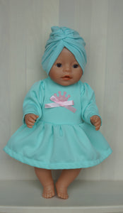 Sweet mint dress with crown and cap set for Baby Born, Baby Born sister, or doll till 43cm 17in, Baby Born doll clothing, little princess dress