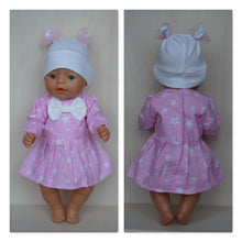 Load image into Gallery viewer, Pink dress and cap clothes set for Baby Born (sister), new Baby Annabell or other doll 43 cm