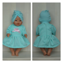 Load image into Gallery viewer, Sweet mint dress with crown and cap set for Baby Born, Baby Born sister, or doll till 43cm 17in, Baby Born doll clothing, little princess dress