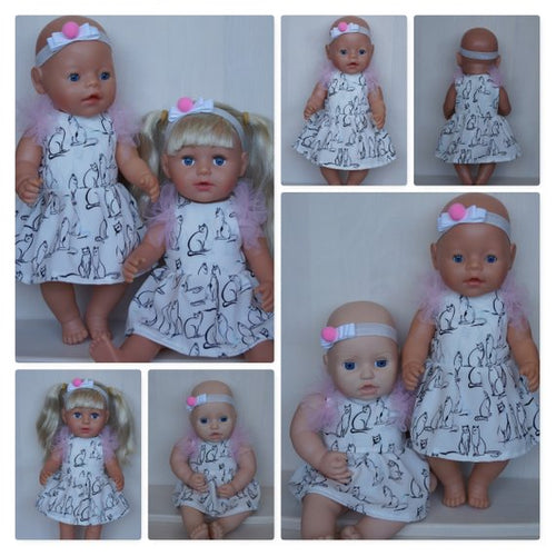 White dress with cats and headband outfit, clothes for Baby Born, Baby Born sister, new Baby Annabell or other doll till 43 cm