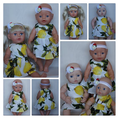 Citrus dress and headband with flowers outfit, clothes set for Baby Born doll