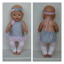 Load image into Gallery viewer, Grey tunic open in the back with white spots and pink leggings clothes set for Baby Born, Baby Born sister, or other doll till 43 cm (17 in)