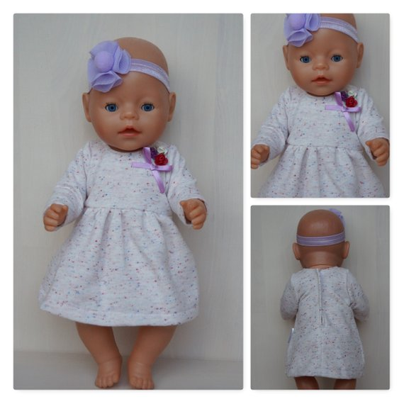Light colors dress and tutu flower headband clothes set for Baby Born,Baby Born sister, or other doll till 43 cm(17in)