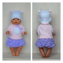 Load image into Gallery viewer, Purple tutu skirt, cap and rose blouse outfit, clothes set for Baby Born, Baby Born sister, or other doll till 43 cm