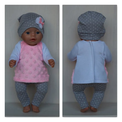 Grey cap with dots, pink minki tunic and grey leggings clothes set for Baby Born, Baby Born sister, Baby Annabell or doll 43cm