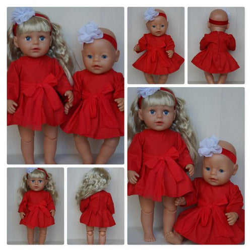 Red stylish Christmas dress and headband set for Baby Born, Baby Born sister, or doll till 43cm 17 in, baby born doll Christmas dress