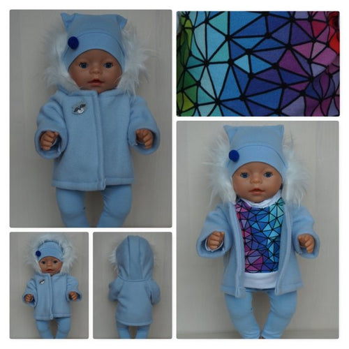 Blue jacket, coat for Baby Born boy, Baby Born sister, Baby Annabell or other doll 43 cm 17 in