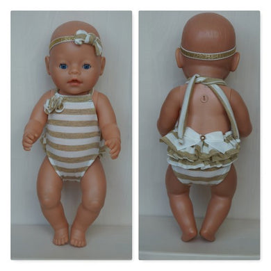 Golden striped swimming suite for Baby Born (sister)or other doll, baby Born doll swimming clothes