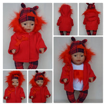 Load image into Gallery viewer, Red Christmas jacket for Baby Born, Baby Born Sister, Baby Annabell or other doll till 43 cm, red doll jacket