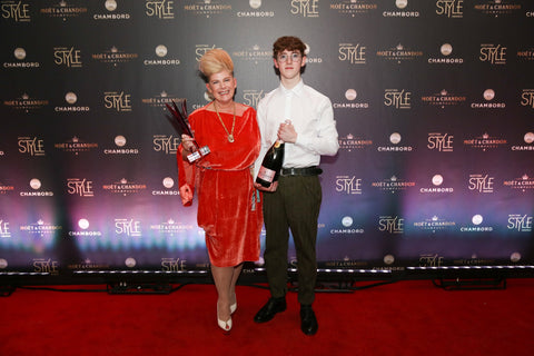 Director and Founder, Brenda accepting the Scottish Style Award 2018 with her son Rory.