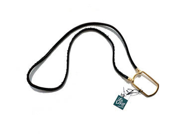 La Loop | Black Leather with Satin Gold Dog Tag - Niche Bazaar Studio