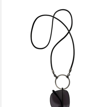 La Loop | Black Rubber with Antique Silver plated loop - Niche Bazaar Studio