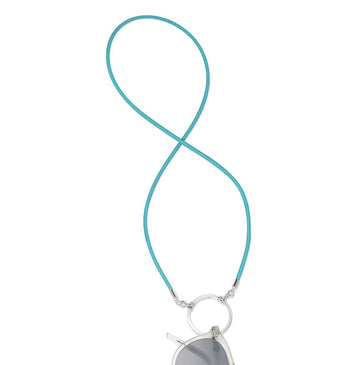La Loop | Silk Stretch Turquoise with Shiny Silver Loop - Niche Bazaar Studio