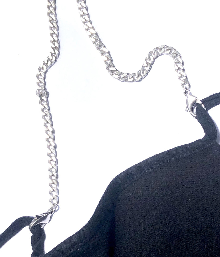 LaMask | Limited Edition Ludlow Silver Curb Chain with Black Mask - Niche Bazaar Studio
