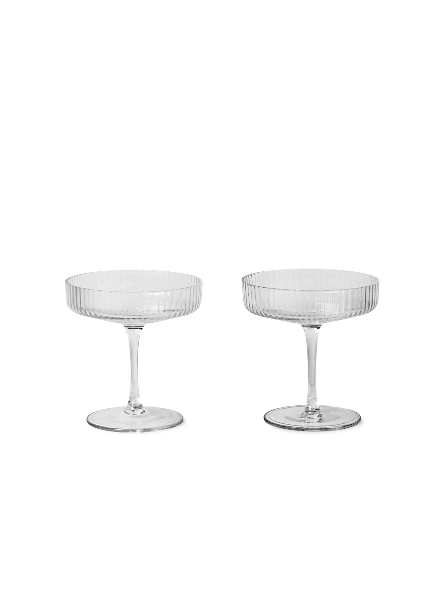 FERM LIVING RIPPLE CHAMPAGNE SAUCER CLEAR - SET OF 2