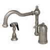 ALVINA Chrome Handle Faucet w/ Swivel Spout, Brass Side Spray