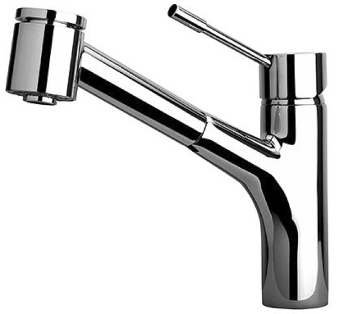 LaTascana Elba single handle pull-out kitchen faucet with 2 function sprayer (stream/spray) in Chrome