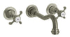 Ornellaia wall-mount lavatory faucet with cross handles in Brushed Nickel