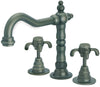 Ornellaia widespread lavatory faucet with cross handles in Tuscan Bronze