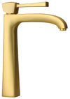 Lady tall single lever handle lavatory vessel filler in Matt Gold