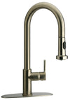 LaTascana Elix single handle pull-down spray kitchen faucet in Brushed Nicikel
