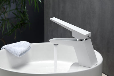 Aqua Siza Single Lever Modern Bathroom Vanity Faucet - Matt White