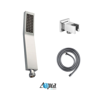 "Aqua Piazza Brass Shower Set with 8"" Square Rain Shower, Tub Filler and Handheld"