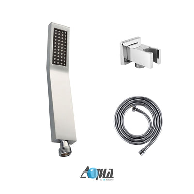"Aqua Piazza Brass Shower Set with 8"" Ceiling Mount Square Rain Shower, Handheld and 4 Body Jets"