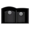 "LaToscana Plados 33"" x 21"" Double Basin Granite Undermount Sink in a Black Finish"